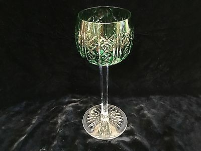 "antique green overlay signed St. Louis wine glass stem 7.25"" perfect"