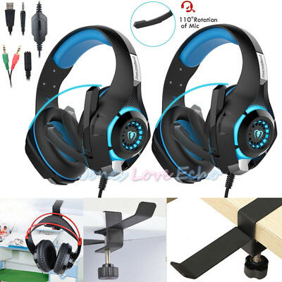 2x3.5mm Gaming Headset Mic LED Headphones Stereo for PS3 PS4 Xbox ONE 360+Holder
