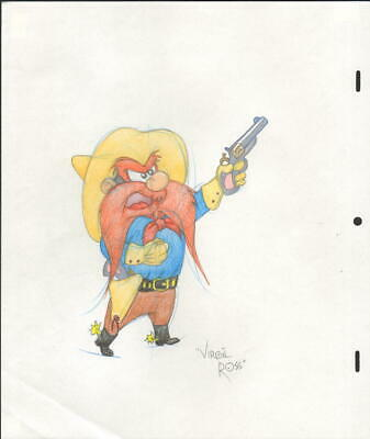 Original Yosemite Sam Colored Pencil Drawing By Legendary Virgil Ross With Coa