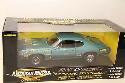 1/18 Ertl 1968 Pontiac Gto , Bossman , Hobby Edition 1 Of 5000 , Blue , New