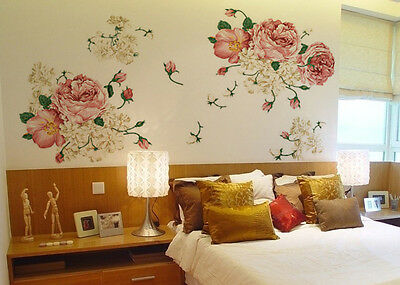 Nice Peony Flowers Mural Art Wall Decals Removable PVC Sticker Home Decor
