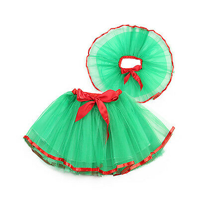 Kids Girls 3 Layers Christmas Tutu Skirt Dancing Clothes Xmas Party Fancy Dress