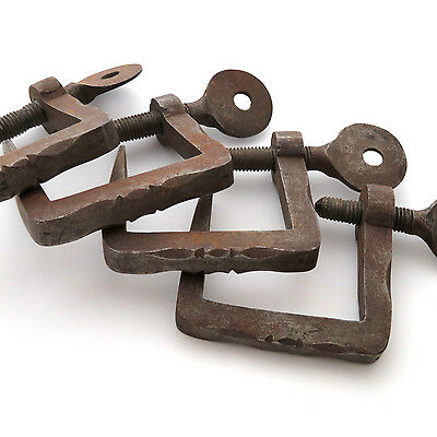 Antique Set of 4 Hand Forged Iron Quilting Clamps ~ AAFA