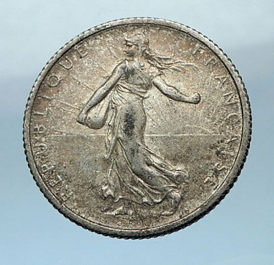 1916 FRANCE Antique Silver 1 Franc French Coin w La Semeuse Sower Woman i68216
