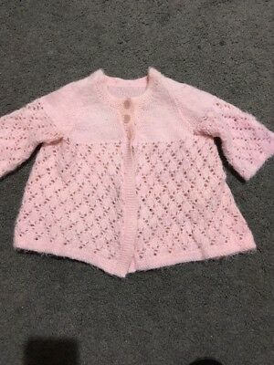 Baby Girls Long Sleeve Pink Hand Knotted Cardigan Size 000 GUC