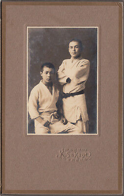 ANTIQUE PHOTO / Two Young Men in Judo Gear / Japanese / Dated 1918