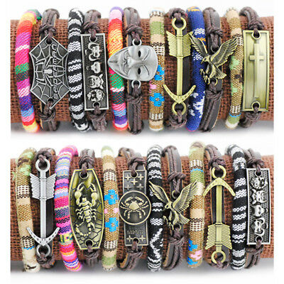 LOT 12pcs Vintage Mixed Tribal style hemp rope Leather surfing Bracelet