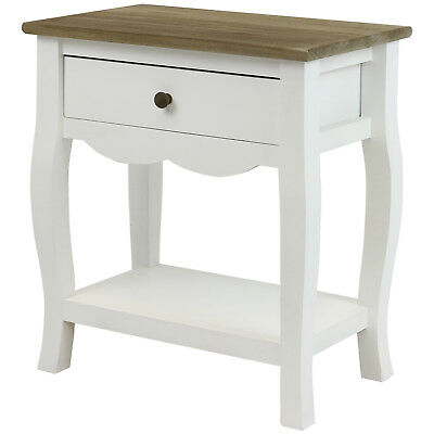 Hartleys White & Distressed Wood Top Bedside Table & Drawer Side/lamp/end Table