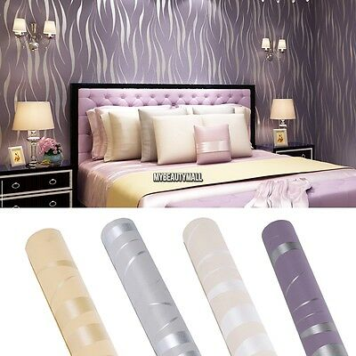 Luxury Non-woven 10m Embossed Damask Wallpaper Roll Flocked Metallic Wall Paper