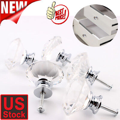 20 Vintage Crystal Clear Glass Door Knobs Pulls Cabinet Antique Furniture Drawer
