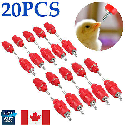 20X Chicken Duck Bird Water Nipple Valves Auto Drinker Waterer Feeder Poultry CA