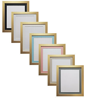 Gold Photo Poster Picture Frames with choice of Black Ivory or White Mounts H7