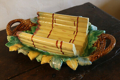 Antique French majolica asparagus platter circa 1880-1900 signed GIEN