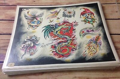 Huge Lot 43 Sheets TATTOO FLASH MARTY HOLCOMB WALL ART Laminated many w/ outline