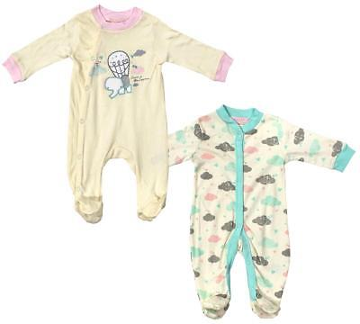 Girls Baby PACK OF 2 Dream Elephant Clouds Sleepsuit Rompers Newborn to 9 Months