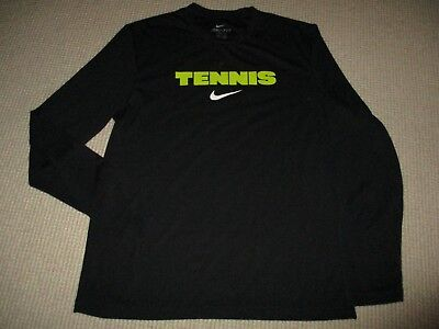 Nike Dri Fit Mens Long Sleeve Black Tennis Shirt Vgc - Authentic