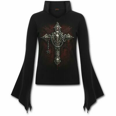Spiral Direct DEATH BONES High Neck Goth Top/Goth/Dark Wear/Ankh/Gothic/Top