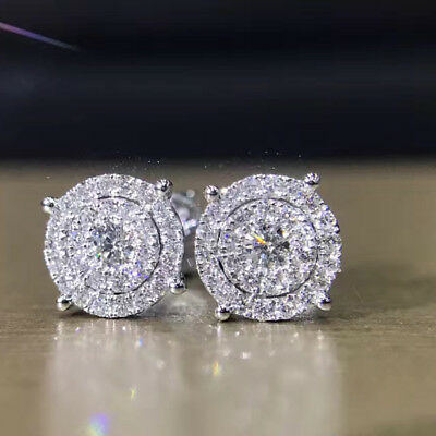 2 Ct Round Sparkle Cut Diamond Cluster Stud Halo Earring 14K White Gold Finish