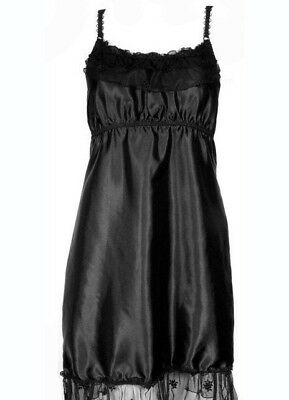 New Black Satin & Lace Babydoll Slip Sexy Nightwear Camisole Nighty Sleepwear