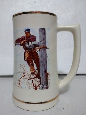 Norman Rockwell Telephone Lineman Limited Edition Tankard # 8413 AT&T Mug