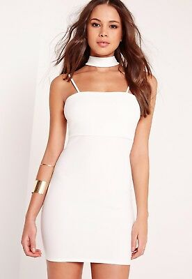 3b1a49362f Missguided choker neck strappy bodycon dress white size 10 RRP £25.00