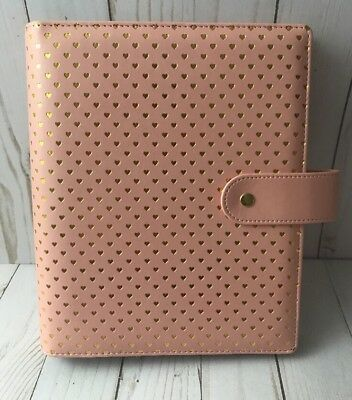 Marion Smith Designs Peach/ Light Pink Planner Binder With Gold Hearts A5
