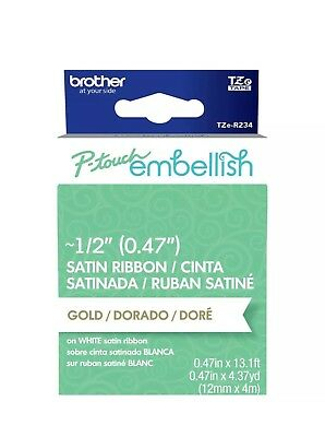 Brother P-Touch Embellish Satin Ribbon -Gold On White