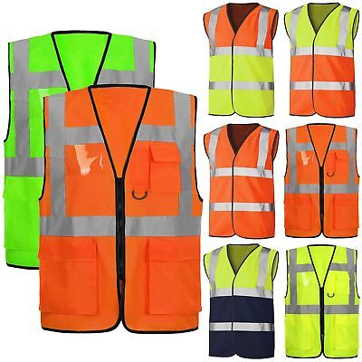 Mens Zip Hi Vis Reflective Executive Visibility Sleeveless Jacket High Work Vest