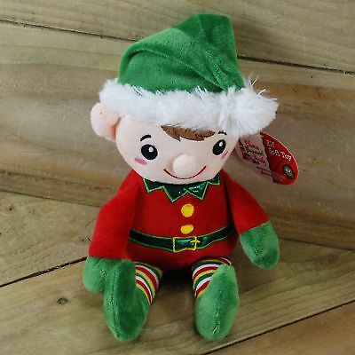 "11""  Plush Standing Arthur The Elf With Red Body And Green Santa Hat"