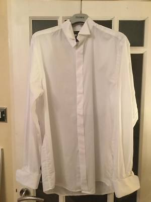 "Ex Hire Mens Wedding/Prom/Formal Wear White Wing Collar Shirt 15.5""/16""/16.5"""