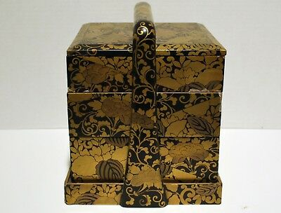 Antique Japanese Jubako with Makie Gold Decoration on Black Lacquer