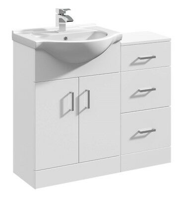 900mm High Gloss White Bathroom Vanity Basin Sink Cabinet & Drawer Furniture