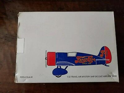 Pepsi Cola Travel Air Mystery Ship Die cast Airplane Bank 1:32 Scale New In Box