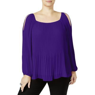 32fd5713a953d Women s Inc International Concepts Plus Size 0X Pleated Cold-Shoulder Top