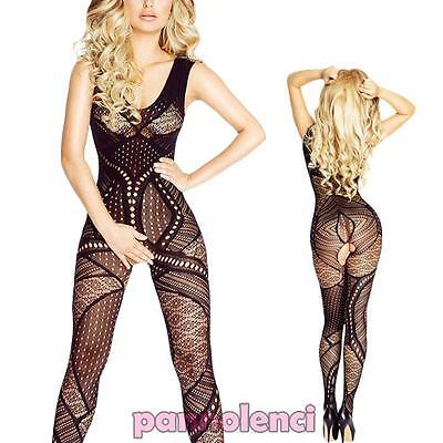 Bodystocking donna tutina catsuit pizzo lingerie intimo nuovo DL-1919