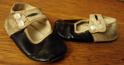Antique Vintage Victorian Black & White Leather Mary Jane Button Baby Shoes