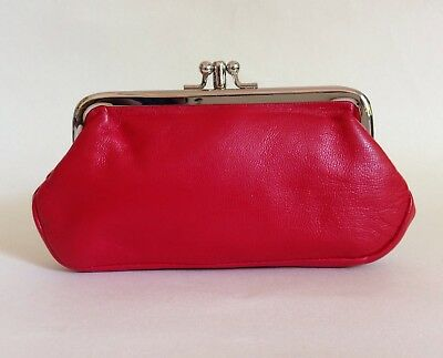 1950s Vintage Style Red Large Textured Leather Double Sided Coin Purse Mad Men
