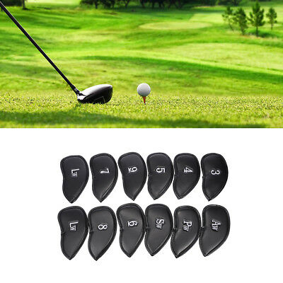 12pcs PU Leather Golf Iron Headcovers Club Putter Headcovers 3-SW Set Black