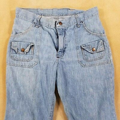 Vintage Wrangler Distressed Faux Flap Pocket Jeans Mid 70's 30 Waist 27L USA