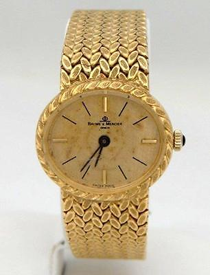 VINTAGE LADIES 18K YELLOW GOLD BAUME & MERCIER OVAL DIAL MESH SOLID WATCH 57g