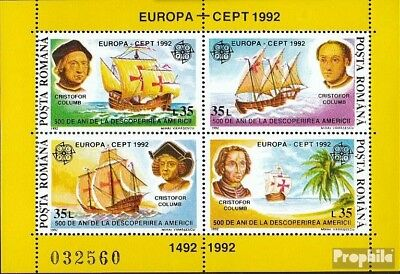Romania block271 (complete issue) used 1992 Discovery America