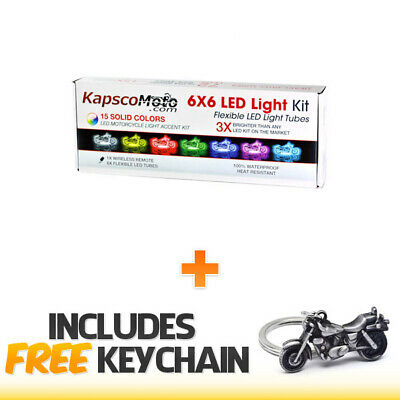 Motorcycle LED Color Accent Light Tube Kit Wireless Remote+Cruiser Keychain