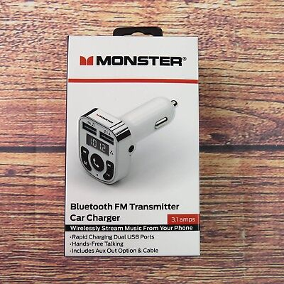 Monster Bluetooth FM Transmitter Car Charger 3.1 amps White WFM9-1001