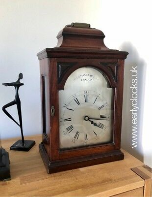 Georgian Verge Fusee Mahogany Bracket Clock -Mangaar, London Covent Garden C1780