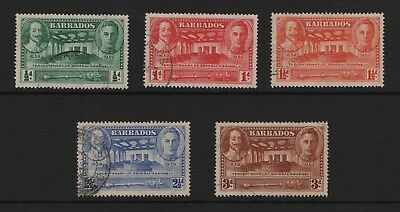 Barbados SG 257-SG261 Tercentenary of General Assembly  1939 Very Fine Used