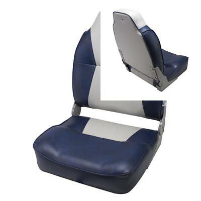 The Wise Company 8WD640PLS-660 Contoured Folding High Back Boat Seat, Grey/Navy