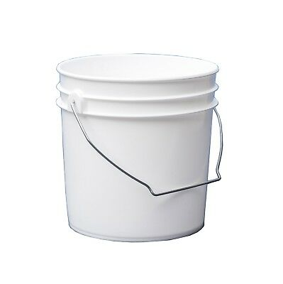Lot of 5 - 1 Gallon White HDPE Open Head Pail and Tear Tab Cover - 10117176s