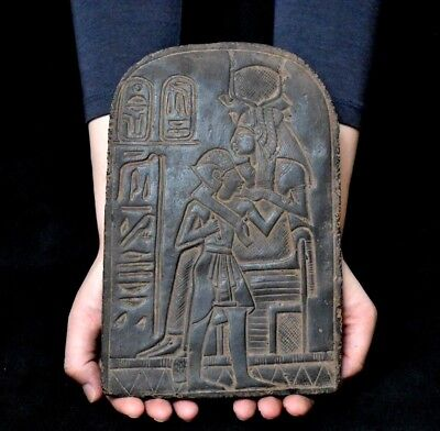 ANCIENT ANTIQUE Egyptian plaque ISIS NURSING HORUS Stela Relief  (1500–300 BC )