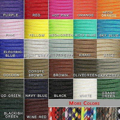 550 Paracord Parachute Cord Lanyard Mil Spec Type III 7 Strand Core 15 50 100FT