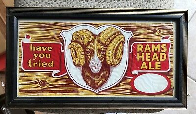 Vintage Rams Head Ale Advertising Beer Sign Adam Scheidt Brewing Norristown Pa